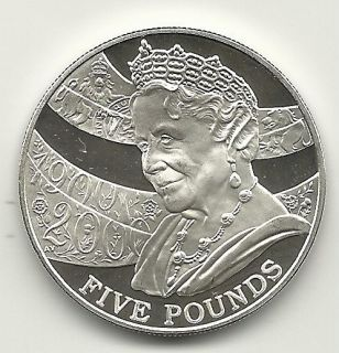 GREAT BRITAIN 2000 QUEEN MOM CENT. 5 POUNDS STERLING SILVER IMP