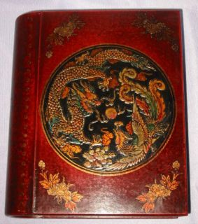 Newly listed Chinese old leather Wood carved Dragon Phoenix Book Box