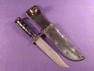 ontario combat fighting knife 7 blade leather scabbard