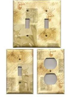 Trophy Buck Whitetail Deer Hunting Log Cabin Rustic Woods Switchplates