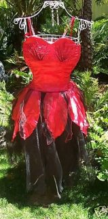 new ladies red black swan lake fairy costume dress up