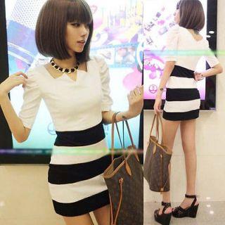 Womens Stylish Wide Stripes Puff Sleeve Mini Dress Half Sleeve Slim