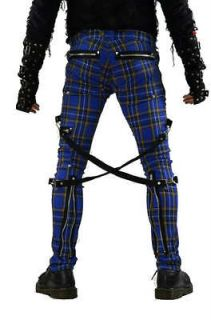 NYC GOTHIC CHAOS TIGHT BLUE PLAID CYBER GOTH PUNK EMO PANTS IS6037P