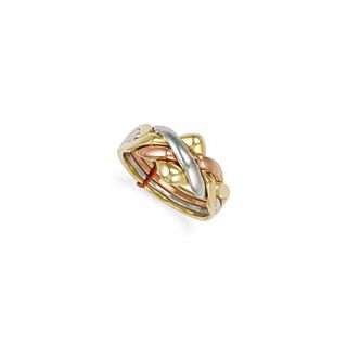9ct three colour gold 4 piece puzzle ring 5 5g