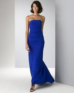 NICOLE MILLER $420 Cobalt Blue Silk Strapless Evening Gown NEW