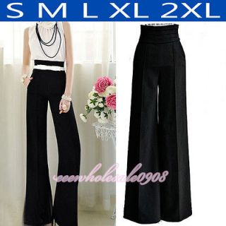 Vintage Long Pants High Waist Wide Leg Flared Palazzo Trousers S M L