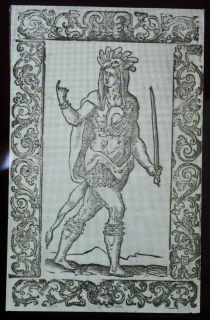 1598 Woodcut of American Indian Warrior, Magic Lantern Glass Art Slide