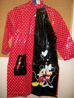 DISNEY Minnie Mouse hooded RAINCOAT MAC Girls Age 8,10.12 BLACK/RED