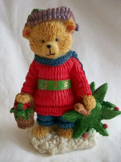 Christmas Teddy Bear Figurine 4.5 inch Porcelain Decorated Tree Berry