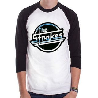 The Strokes Logo blue rock punk indie NYC Baseball t shirt 3/4 sleeve