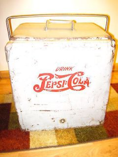 Old DRINK PEPSI COLA Cooler, Handled Lid, Metal Lined, Drain, 2 Logos