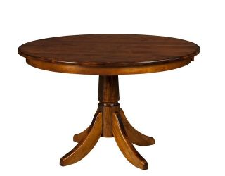 Amish Round Pedestal Dining Table Rustic Solid Wood Traditional