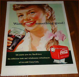 1951 COCA COLA AD Girl in Pigtails~Braids~Coke Fountain Dispenser