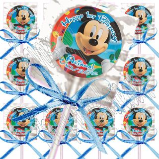 Disney Mickey Mouse PERSONALIZED Lollipop Favors with Blue bows   12