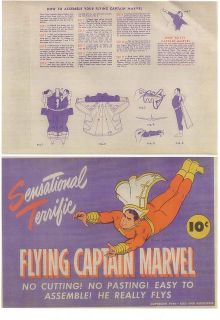 1944 paper toy FLYING CAPTAIN MARVEL (unassembled, new)