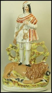 ANTIQUE STAFFORDSHIRE POTTERY LION HUNTER FIGURE C.1860
