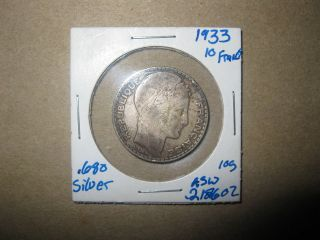 OLD FRENCH COIN 1933 68% SILVER 10 FRANCS FOREIGN FRANCE BULLION .219