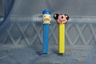 Vintage Walt Disney Austria Mickey Mouse & Donald Duck PEZ no feet