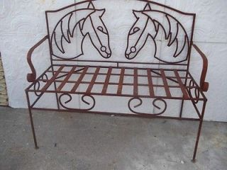 Large Wrought Iron Horse Bench, Several colors, Patio & Deck Furniture