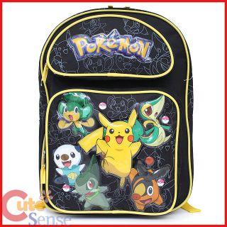 Pokemon Pikachu School Backpack 16 Large Bag Black Pikachu Snivy