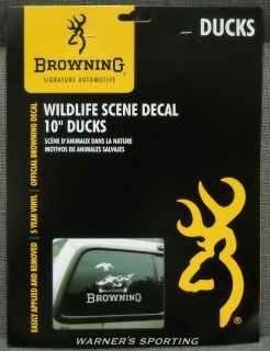 browning official duck scene white vinyl window decal time left