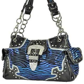 Animal Zebra Print Purse Handbag Rhinestone Belt Buckle Metallic Blue