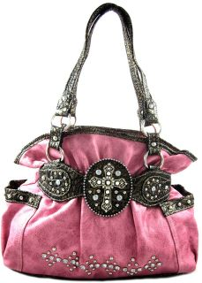 Cowgirl Rhinestone Cross Stud Accent Bling Hobo Bag Purse Handbag Red