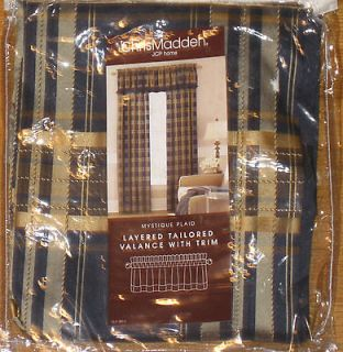Chris Madden Mystique Plaid Indigo Layered Tailored Valance w Trim