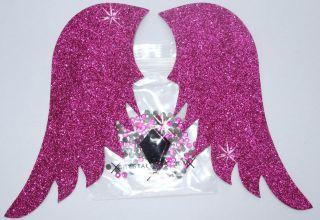 ANGEL FAIRY WING A + RHINESTONE GEM IRON ON TSHIRT TRANSFER PATCH