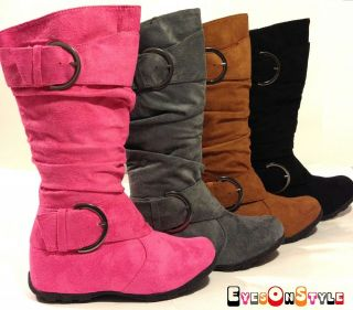 Jr Girl SLOUCH Gladiator Comf Midcalf Suede Winter Boot Shoe  Oslo Jr