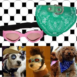 Pet Dog Cat UV Goggles Sun Glasses Pink+ Bandana Scarf Collar