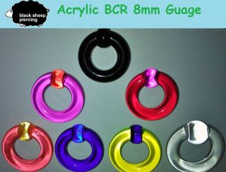 ACRYLIC BALL CLOSURE RING / BCR ~ LARGE GAUGE PRINCE ALBERT PIERCING