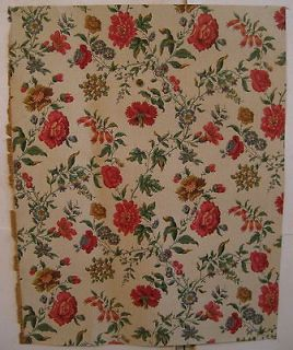Beautiful Antique Early 20th C. French Floral Wallpaper by Paul Dumas