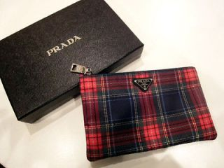 NewAuth PRADA Small Pouch Bag Wallet Purse RED Tartan Plaid Nylon Logo