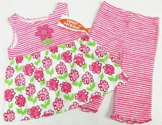 NWT Girls Sweet Potatoes FLORAL TOP STRIPED PANTS Szs. 2T 6 Free