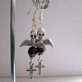 Skull Angel of Death Earrings   Goth Santa Muerte Los muertos Day of