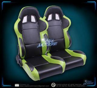 2x Black/Green JDM Turino Sport Racing Bucket Seats Driver/Passenger