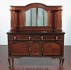 Antique English Mahogany Queen Anne Buffet Sideboard Server w/ Mirror
