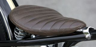dark brown triumph harley bsa xs custom solo seat chopper bobber bates