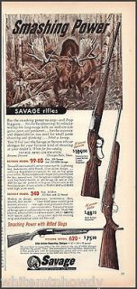 1954 SAVAGE RIFLE 2/3 page AD Model 99 EG~340 Bolt Action~St​evens