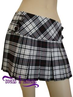 sexy black white tartan plaid school girl mini skirt more options size