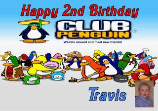 club penguins photo personalised birthday card lrg a5 time left