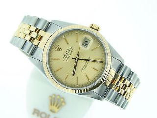 Mens Two Tone 14k Gold/Stainless Rolex Datejust Date Watch w/ Tapestry