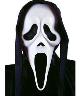 Official Scream 4 Ghost Mask Screaming Face Black Hood Halloween