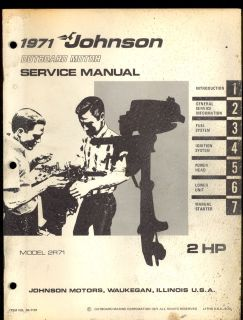 1971 JOHNSON SEA HORSE MODEL 2HP / 2R71 OUTBOARD MOTOR SERVICE MANUAL