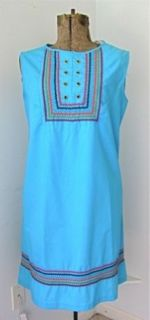 Vtg 60s 70s Mod Aqua Blue Jumper Scooter Tunic Dress Multi Color Rick