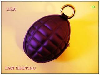 Purple Hand Grenade Key Case Coin Case Wallet Purse Key Zipper Pocket