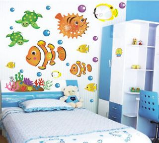 Cute Sea Fishes Life Home Kids Wall Window Room Decor Stickers decals