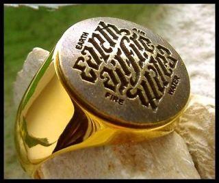AJS © ILLUMINATI AMBIGRAMM MASONIC RING GOLD 24K PL STEEL   D86G