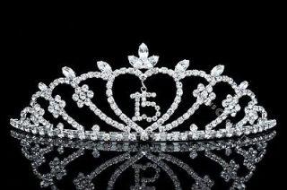 Pageant Quinceanera 15 Birthday Party Rhinestones Crystal Crown Tiara